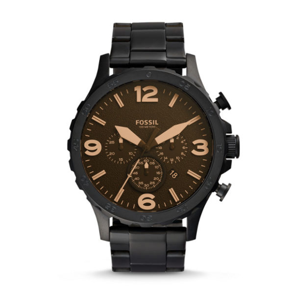 Fossil JR1356 Nate Chronograph Black Stainless Steel Watch