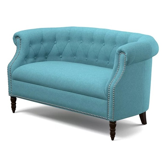 Huntingdon Chesterfield Loveseat in Turquoise Blue Color