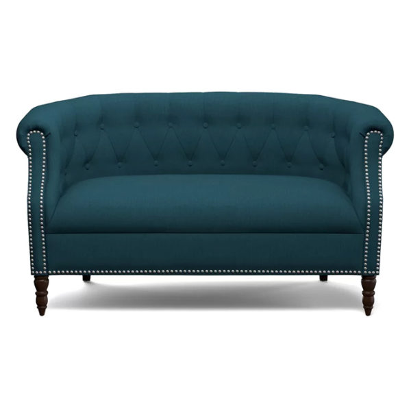 Huntingdon Chesterfield Loveseat in Navy blue Color