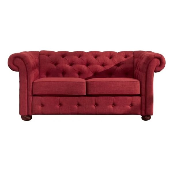 Vegard Tufted Chesterfield Loveseat in Red Color