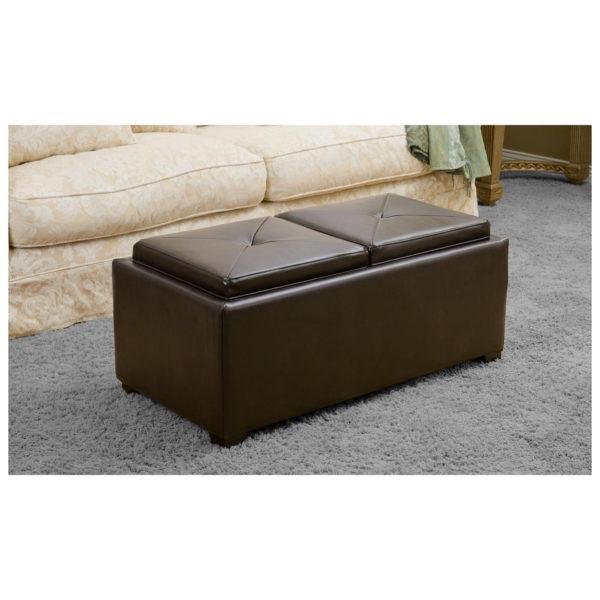 Atoz Devonshire Bonded Leather Tray Top Storage Ottoman Brown