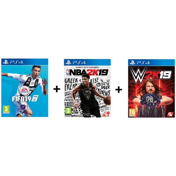 PS4 FIFA19 + NBA2K19 + WW2K19 Game