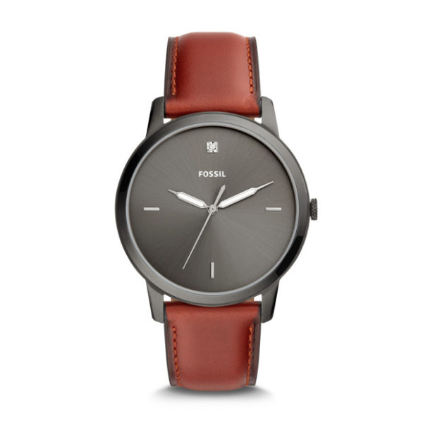Fossil FS5479 The Minimalist Carbon Series Three-Hand Smokey Amber Leather Watch