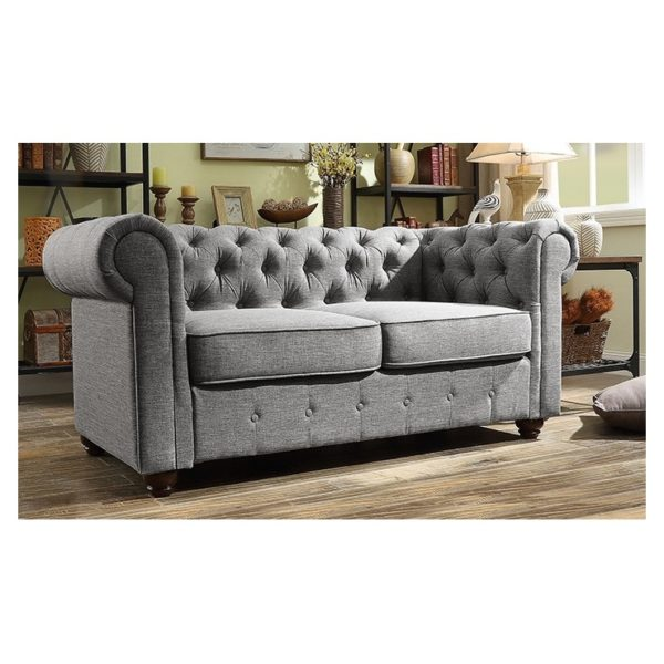 Garcia Hand-tufted Rolled Arm Loveseat in Grey Color