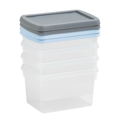 Wham 13104 Box & Lid Set Of 4 Clear/Assorted