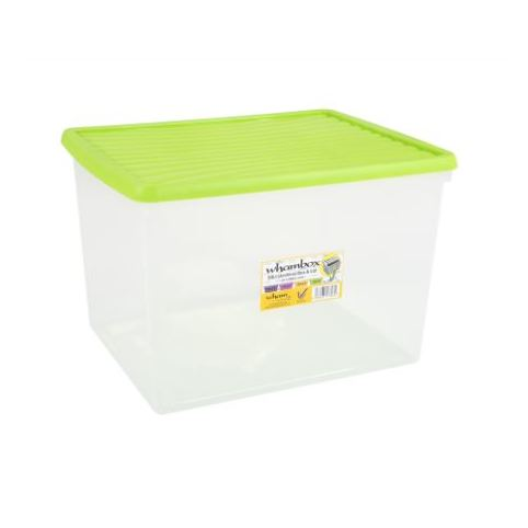 Wham Box &Lid Clear/Lime 50L