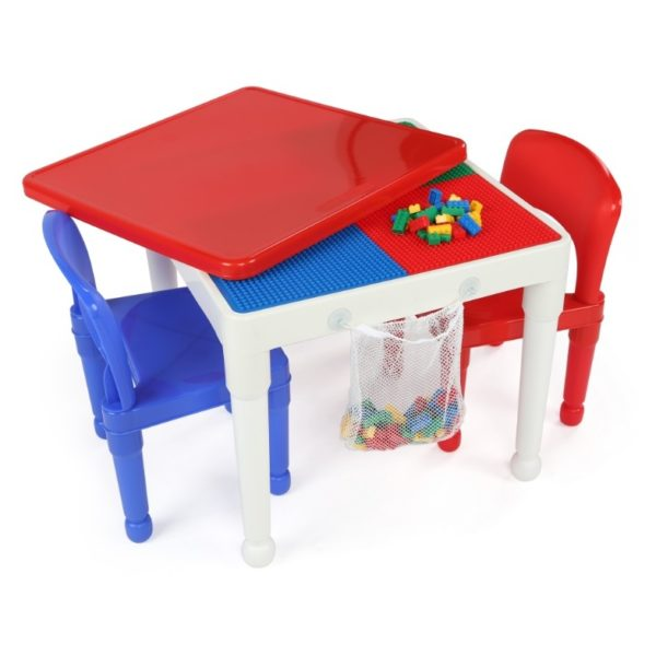 Tot Tutors 2-in-1 Plastic Lego Compatible Activity Table With 2 Chairs