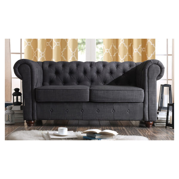Garcia Hand-tufted Rolled Arm Loveseat in Charcoal Grey Color