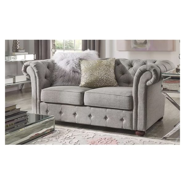Vegard Tufted Chesterfield Loveseat in Grey Color