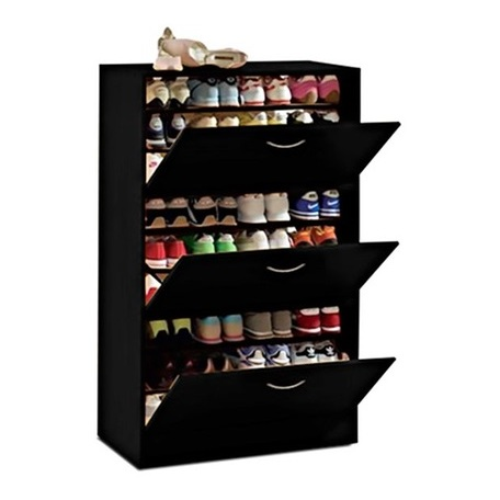 Three-Door Big Foot Shoe Cabinet (Black)