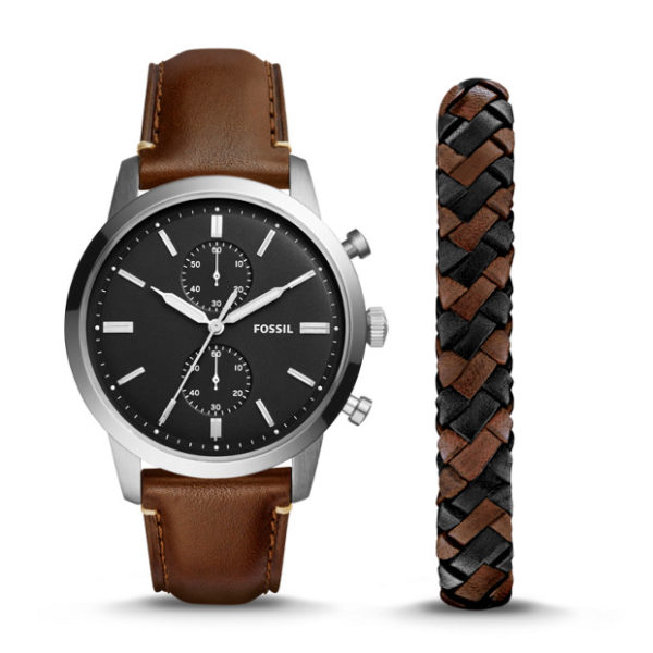 6ddde848d Fossil FS5394SET Townsman 44mm Chronograph Brown Leather Watch And Jewelry  Box Set