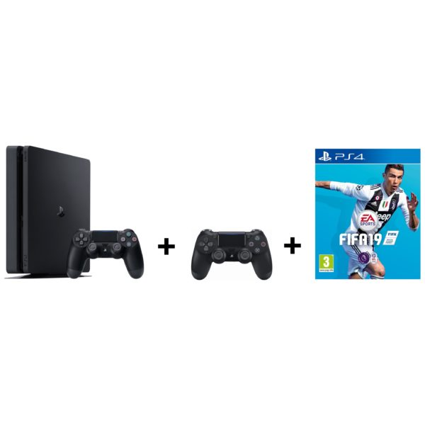 Sony PS4 Slim Gaming Console 500GB Black + Extra Controller + FIFA 19 Game
