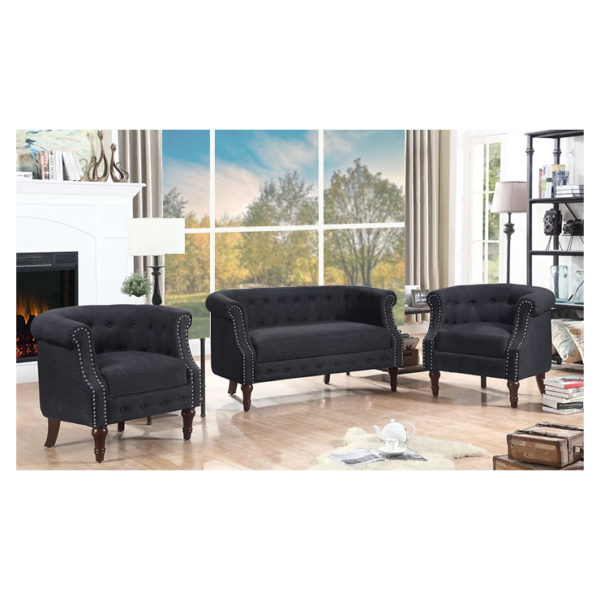 Edmeston Chesterfield Loveseat in Charcoal Grey Color