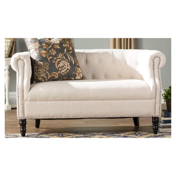 Huntingdon Chesterfield Loveseat in Ivory Color