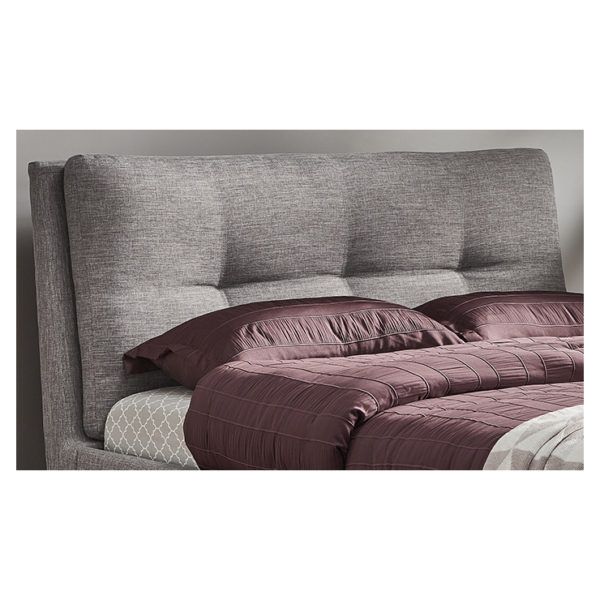 Plush Tufted Padded Headboard Queen without Mattress Grey