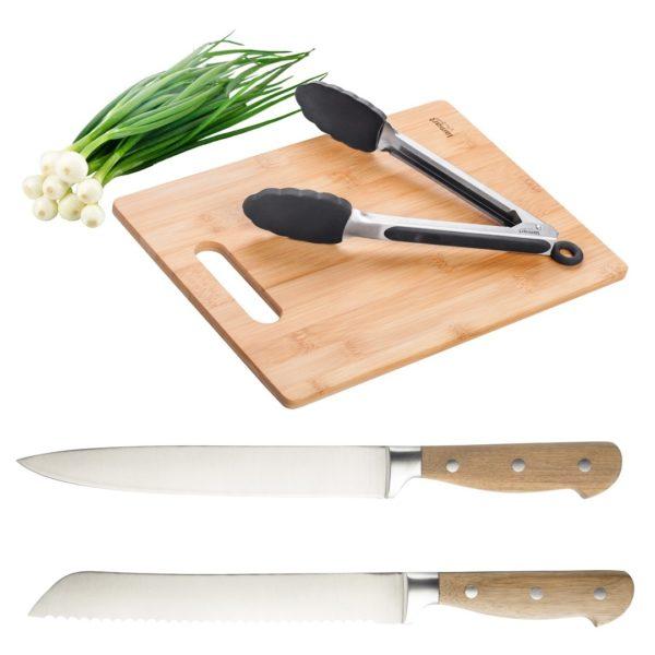 Lamart Cutting Board + Slicer Knife + Bread Knife