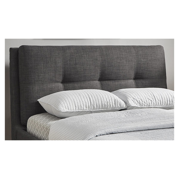 Plush Tufted Padded Headboard King without Mattress Charcoal Grey