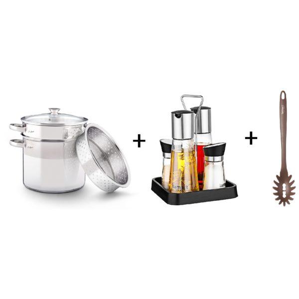 Lamart Pasta Pot + Set 4 Spice Bottles + Spaghetti Ladle