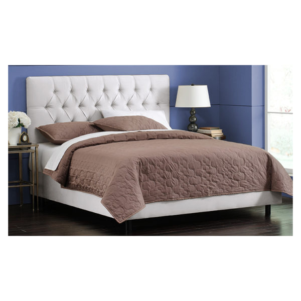 White Velvet Tufted Queen Bed with Mattress White