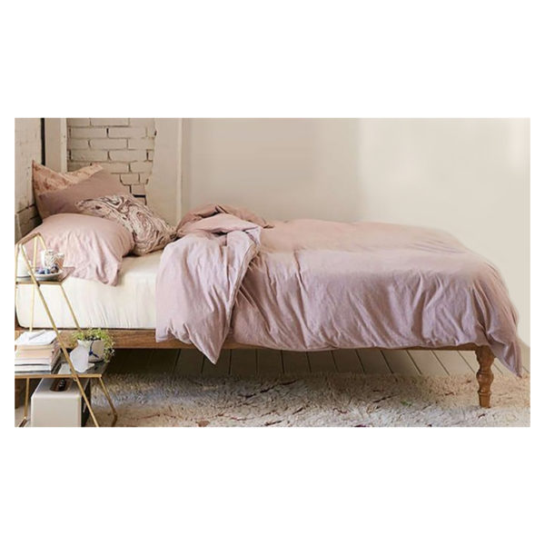 Classic Solid Wood Bed Single Bed with Mattress in Natural Biege Color