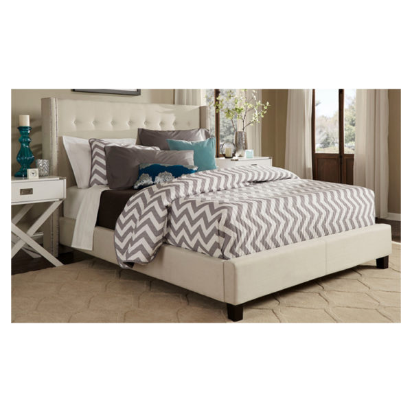 Melina Tufted Linen Wingback King Bed without Mattress Beige