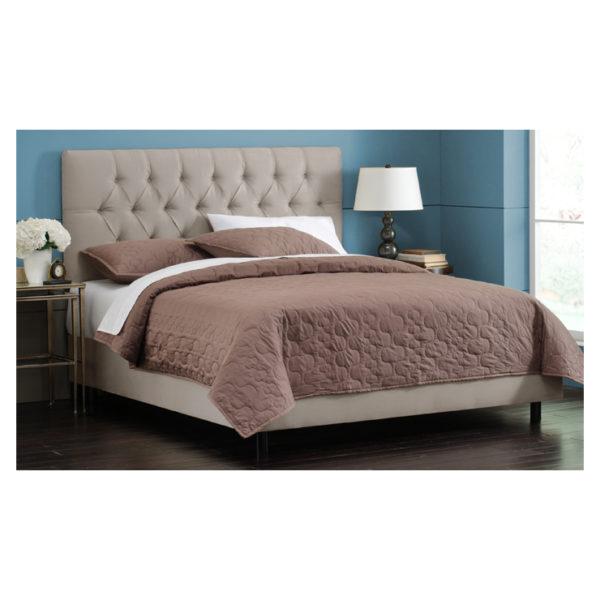 White Velvet Tufted King Bed without Mattress Light Grey