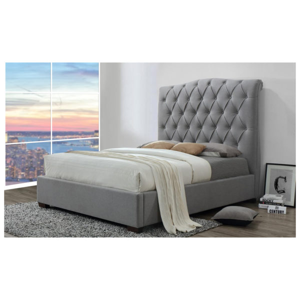 Buy Shannon Upholstered Platform Bed King Without Mattress Grey