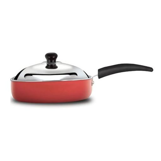 Anjali Glam Fry Cooking Pan 240mm (With Lid) Small Red