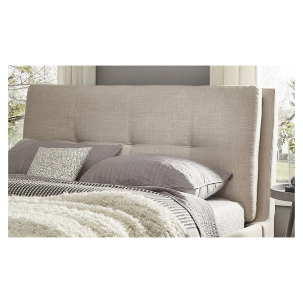 Plush Tufted Padded Headboard King with Mattress Beige
