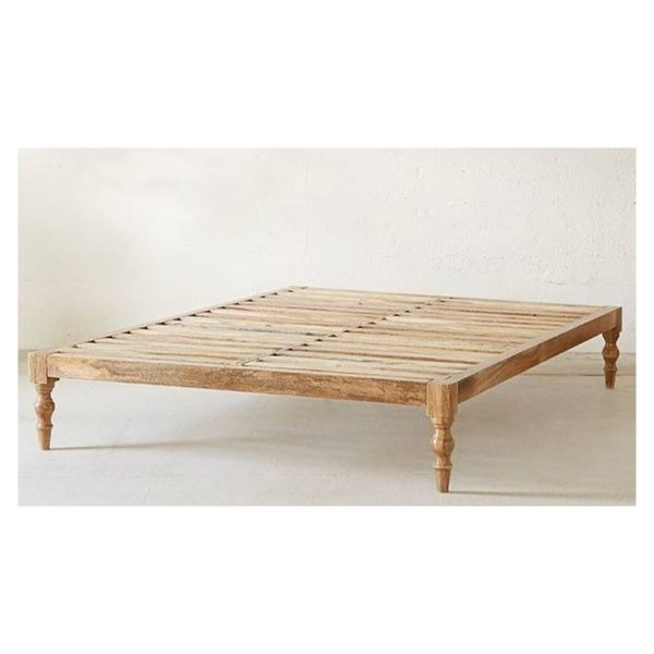 Classic Solid Wood King Bed without Mattress in Natural Beige Color