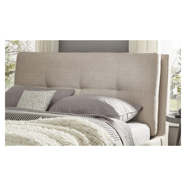 Plush Tufted Padded Headboard Super King without Mattress Beige