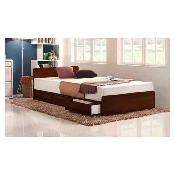 Three-Drawer Storage Single Bed With Mattress Brown