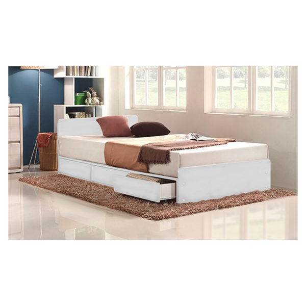 Three-Drawer Storage Single Bed Without Mattress White