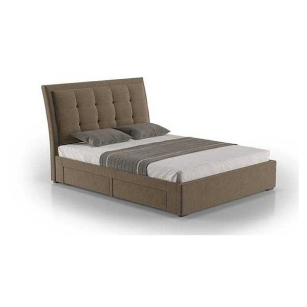 Four-Drawer Storage Super King Bed with Mattress Coffee
