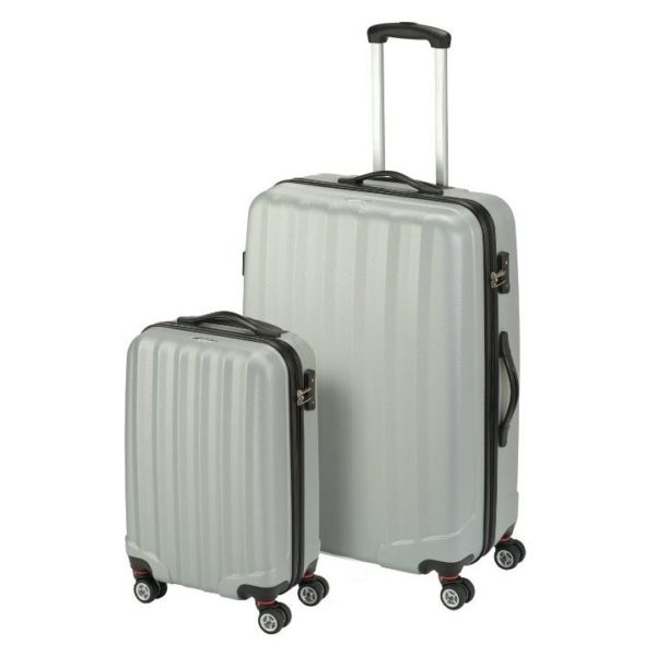 Princess Travellers ARIZONA Trolley Luggage Bag Silver Set of 2