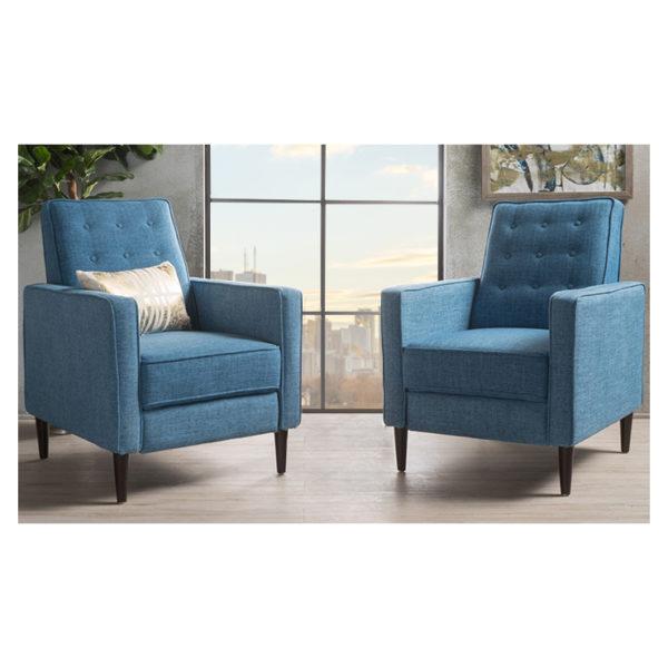 Mervynn Mid-Century Fabric Recliner Club Chairs (Set of 2) Blue