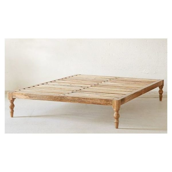 Classic Solid Wood Queen Bed without Mattress in Natural Beige Color