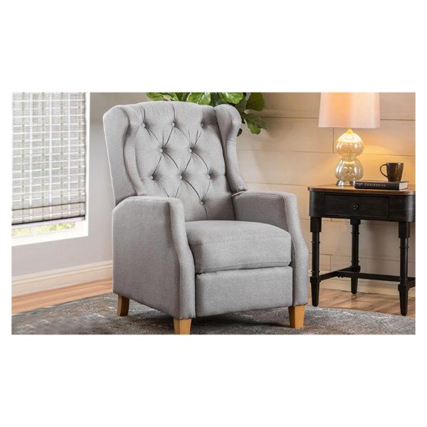 Grantham Fabric Tufted Club Chair Grey