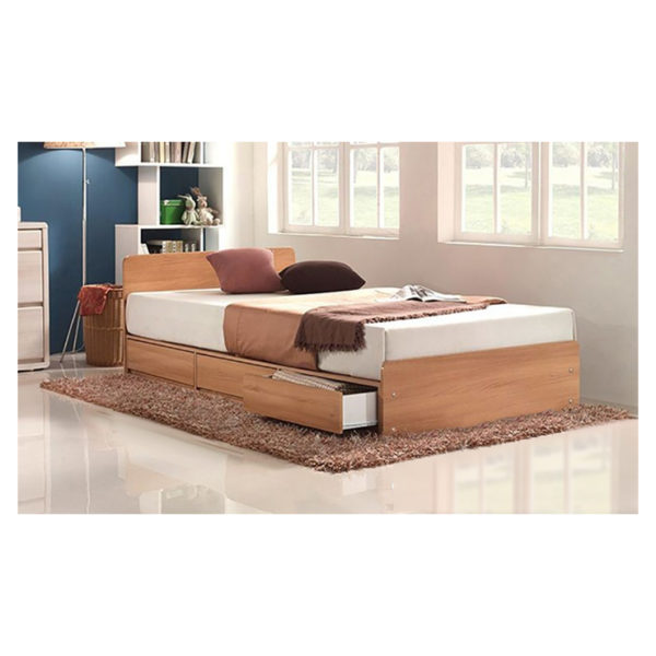 Three-Drawer Storage Single Bed With Mattress Beige
