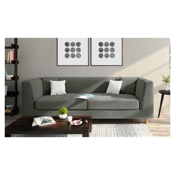 Rubik Sofa Three Seater Sofa in Charcoal Grey Color