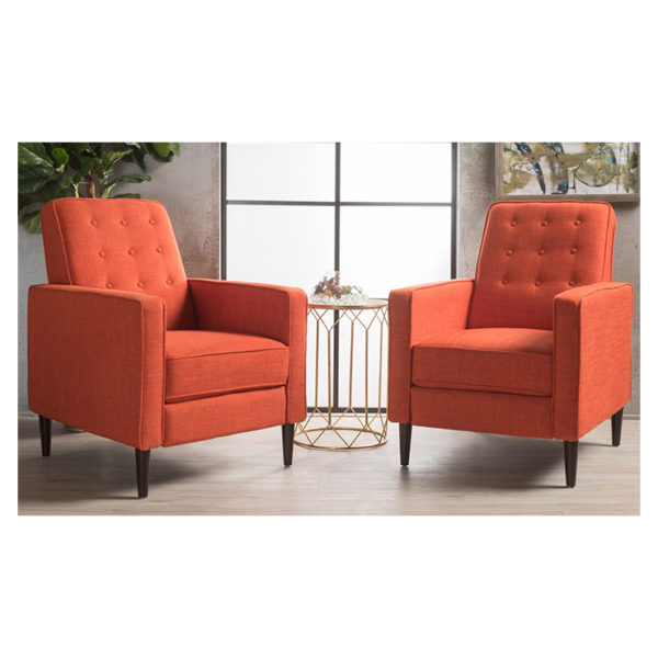 Mervynn Mid-Century Fabric Recliner Club Chairs (Set of 2) orange