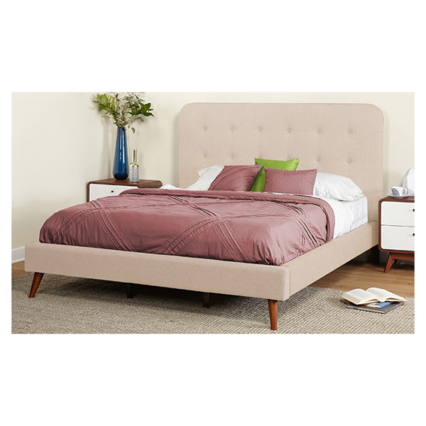 Garbo Mid Century Upholstered Super King Bed without Mattress Beige