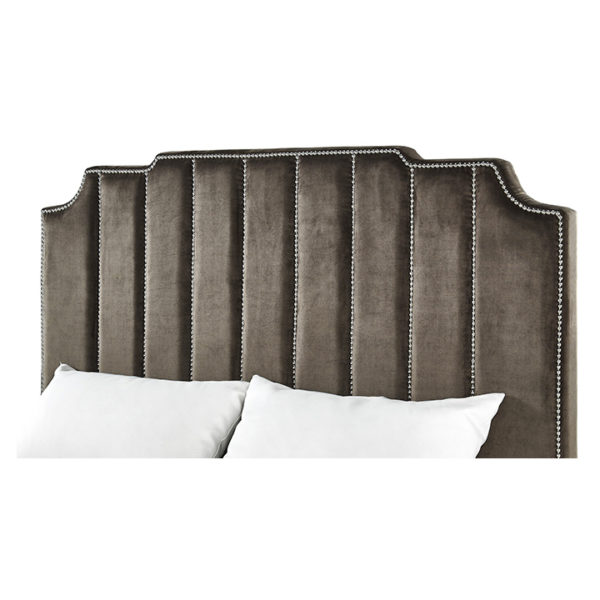 Chareau Velvet Upholstered Nailhead King Bed without Mattress Brown
