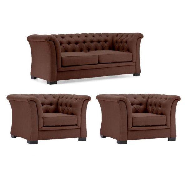 Chester Hill Sectional Sofa 5 - Seater ( 1+1+3 ) in Brown Color