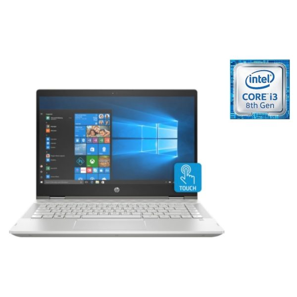 HP Pavilion x360 14-CD1005NE Convertible Touch Laptop - Core i3 2.3GHz 4GB 1TB+16GB Shared Win10 14inch FHD Mineral Silver