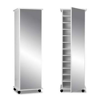 Mirrored Shoe Cabinet in White Color