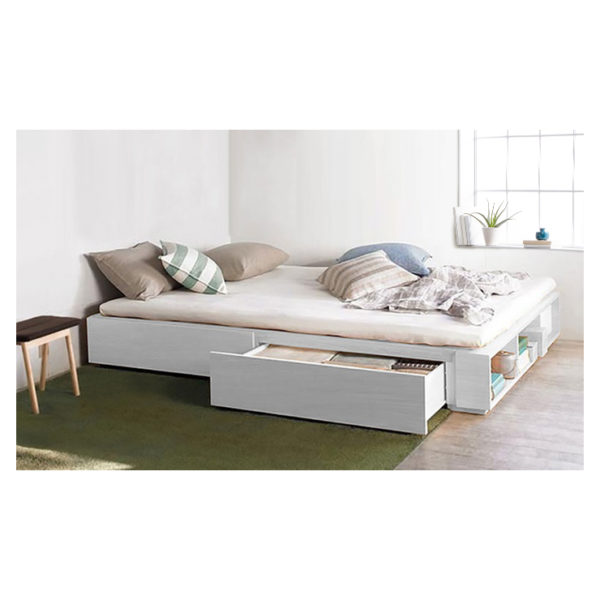 Solid MDF Wood Storage Bed King without Mattress White