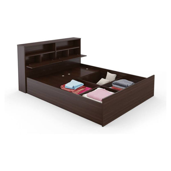 Engineered Wood Queen Bed With Storage without Mattress Walnut
