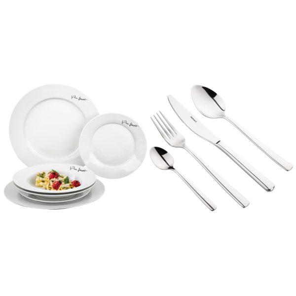 Lamart Cutlery Set 24Pcs + Round Plates Dine 6Pcs