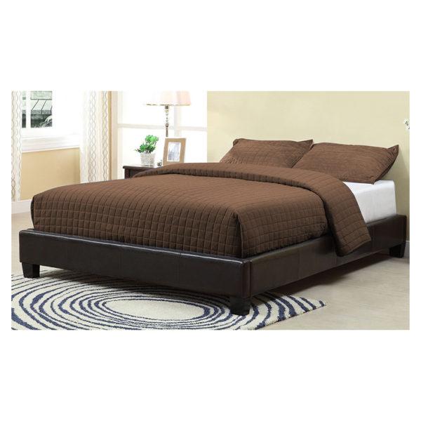 Brown Upholstered Platform Super King Bed without Mattress Brown